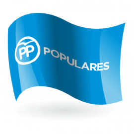 Bandera del Partido Popular PP fondo azul