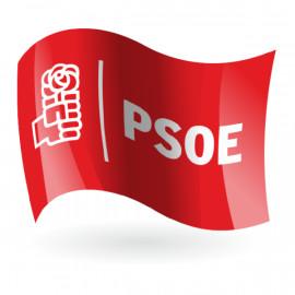 Bandera del PSOE fondo rojo